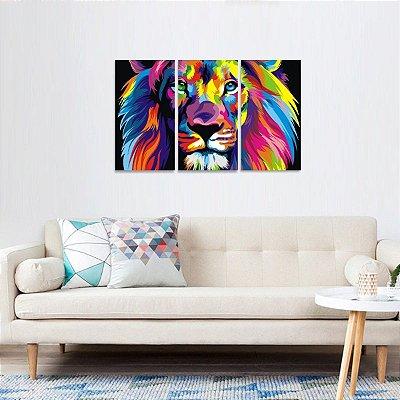 Quadro decorativo Leão Colorido Moderno 3 Peças