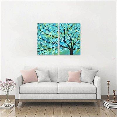 Jogo 2 Peças Quadro Árvore Abstrata decorativo