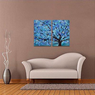 Quadro Árvore Abstrata Azul Artístico em 2 Peças