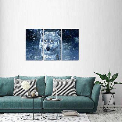 Quadro Lobo Branco Artístico Jogo 3 Peças Wolf