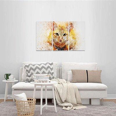 Quadro Gato Artístico Colorido Cute Cat