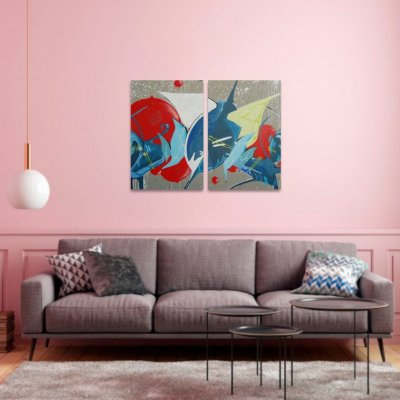 Duo Quadro Abstrato Grafite decorativo em 2 Peças