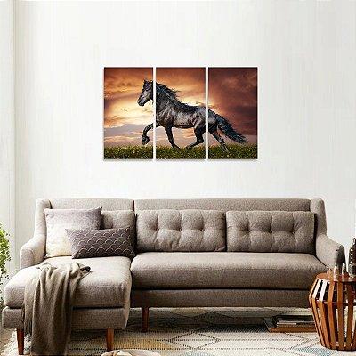 Quadro Cavalo no Campo Black Horse Jogo 3 Peças