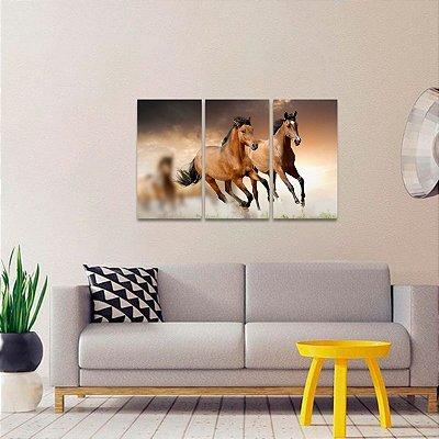 Conjunto 3 Peças Quadro Cavalos Marrom Correndo Arte