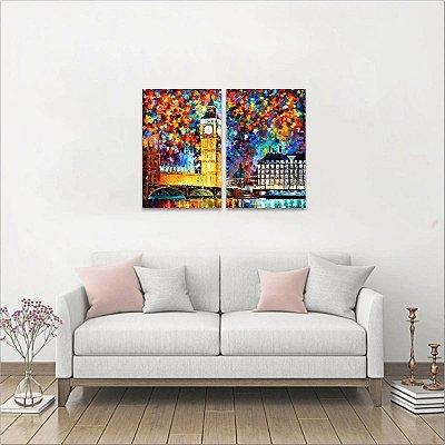 Quadro Noite de Londres Abstrato Big Ben Artístico