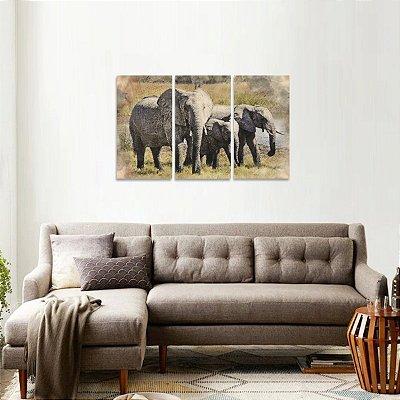 Quadro decorativo Elefantes Animais Artístico em 3 Peças