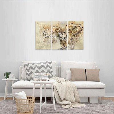 Quadro Owl Coruja Mosaico 3 Peças Artístico