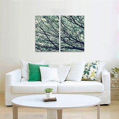 Quadro Árvore dos Galhos Secos Abstrato em 2 Peças