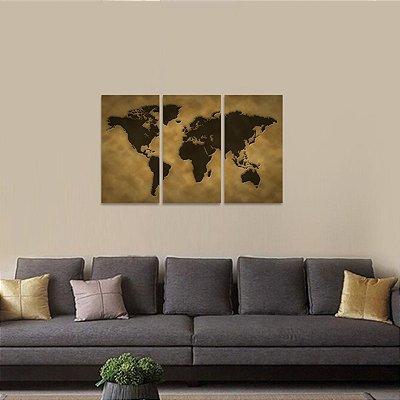 Quadro Mapa Mundi Mosaico 3 Telas decorativo