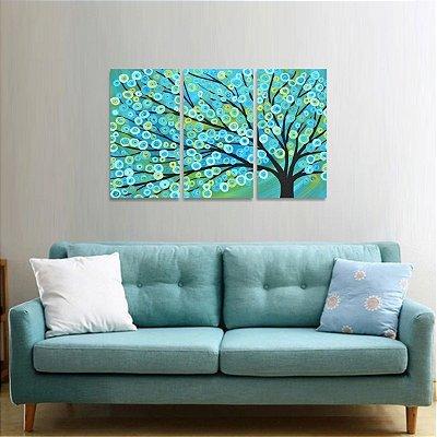 Quadro Arte Árvore Abstrata Mosaico 3 Peças decorativo