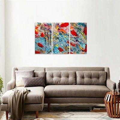 Quadro Abstrato Expressionismo Colorido Jogo 3 Peças