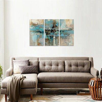 Quadro Abstrato Moderno Traços Azuis Jogo 3 Peças