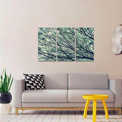 Quadro Abstrato Natureza Ramos de Árvore Conjunto 3 Peças