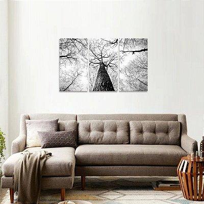 Quadro Abstrato Topo de Árvore Galhos Secos em Preto e Branco