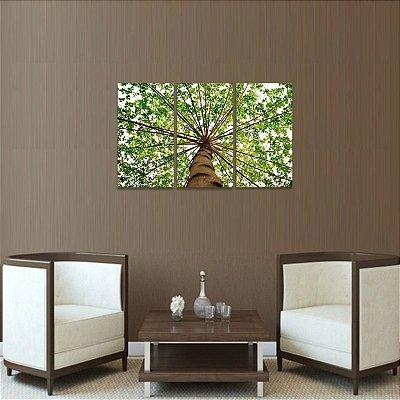 Quadro Abstrato Topo de Árvore Folhas em 3 Peças