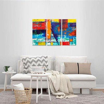 Quadro Abstrato Artístico Jogo 3 Peças Multicolorido