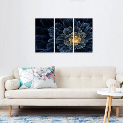 Quadro Flor Abstrata Azul Conjunto 3 Peças