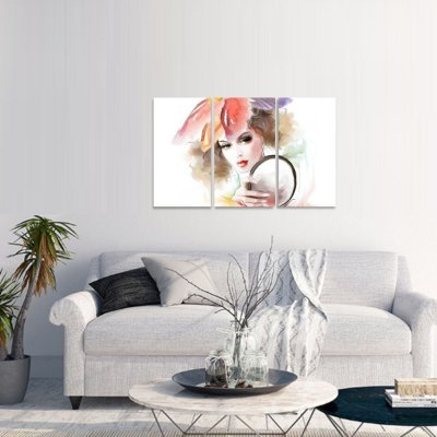 Quadro A Moça do Espelho Abstrato Artístico
