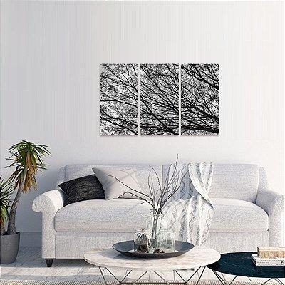 Quadro Árvore Abstrata Galhos Secos em Preto e Branco