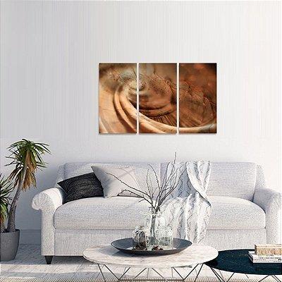 Quadro Abstrato Golden Artístico Conjunto 3 Peças