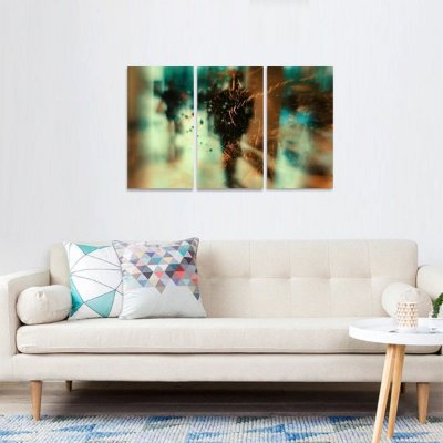 Quadro Abstrato Passageiros de Sombra Artístico em 3 Peças