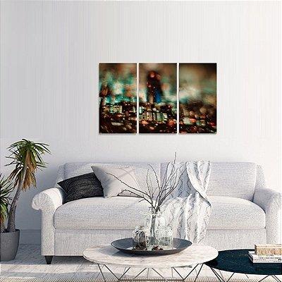 Quadro City Abstrata Moderno Conjunto de 3 Peças