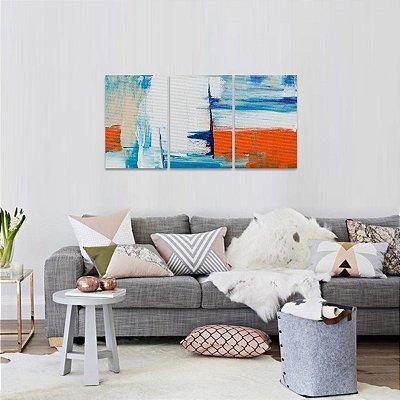 Quadro Abstrato Moderno Traços Branco Azul Laranja em 3 Peças
