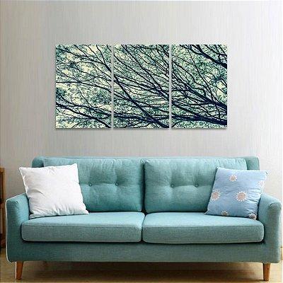 Quadro Mosaico Árvore Galhos Secos Natureza em 3 Peças