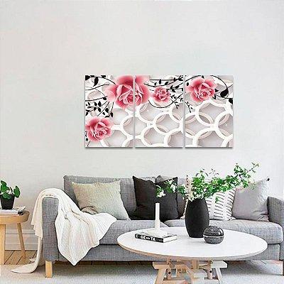 Conjunto Quadros Abstratos Flores e Circulos 3 Peças