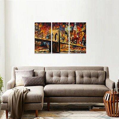 Quadro Abstrato Moderno Ponte do Brooklyn Nova York
