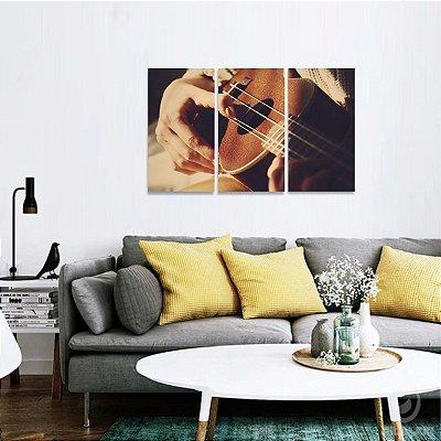 Quadro decorativo Arte de Tocar Violão Jogo 3 Peças
