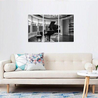 Quadro A Sala de Piano em Preto e Branco Jogo 3 Peças