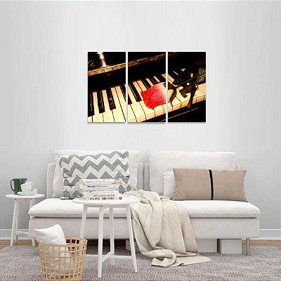 Quadro Piano Música e Rosa Vintage decorativo