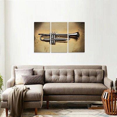 Quadro Mosaico Trompete Instrumentos Vintage