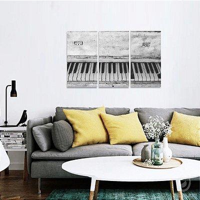 Quadro decorativo Piano Teclado Música em Preto e Branco
