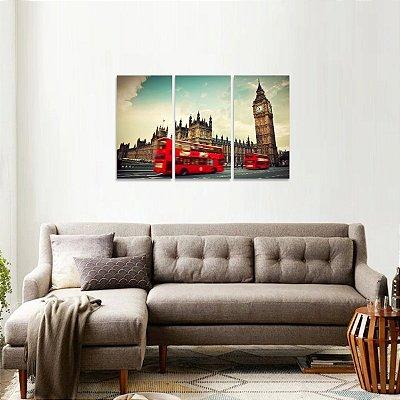 Quadro Londres Ônibus Paisagem Conjunto 3 Telas