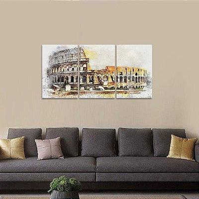 Quadro Roma Coliseu Artístico Itália Conjunto 3 Peças