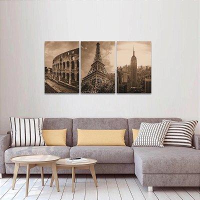 Kit 3 Quadros Roma Paris New York Sépia Torre Eiffel Coliseu Empire State