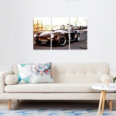 Quadro Carro Antigo Sport Preto Conjunto 3 Peças