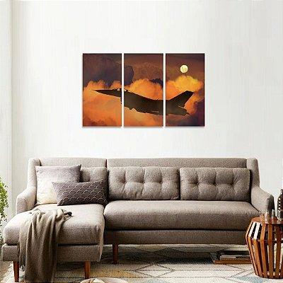 Quadro Aviação Céu Lua Artístico Paisagem  Mosaico 3 Telas