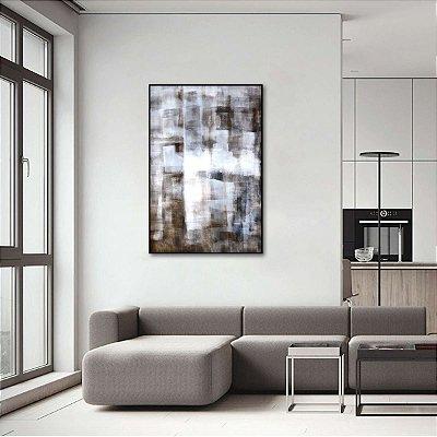 Quadro Arte Abstrata Tons Marrom e Branco Vertical