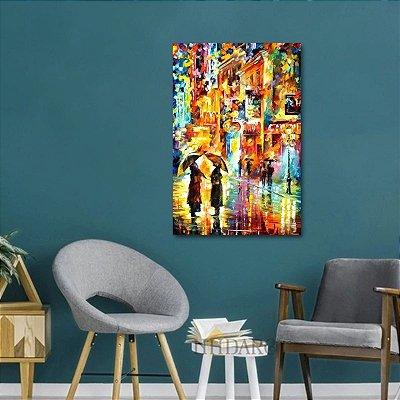Quadro Abstrato O Encontro Chuvoso Artístico Moderno Colorido