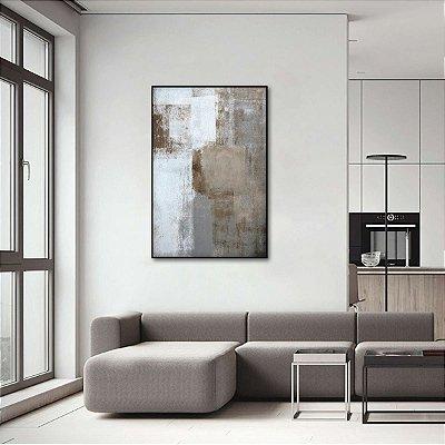 Quadro Abstrato Vertical Tons Marrom e Cinza decorativo