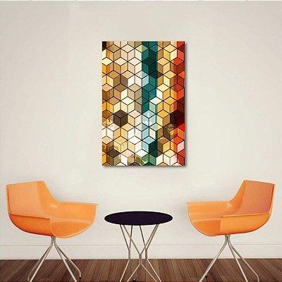 Quadro Geométrico Abstrato Colorido Cubes
