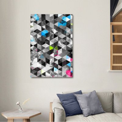 Quadro Abstrato Moderno Padrão de Triângulos Geométrico