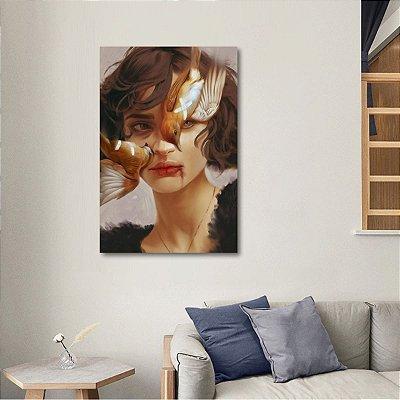 Quadro Abstrato Ilustração Mulher Pássaro Artístico decorativo