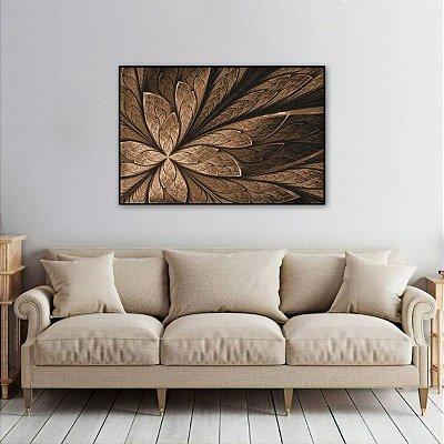 Quadro Flor ou Borboleta Abstrato Vitral Marrom