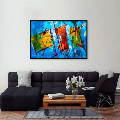 Quadro Abstrato Expressionismo Azul Estilo Pintura decorativo