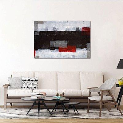 Quadro Arte Abstrata Estilo Pintura Tons Cinza e Vermelho