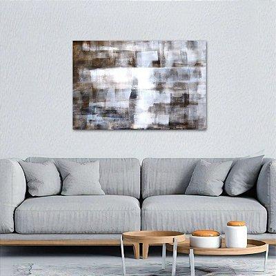 Quadro Arte Abstrata Tons Marrom e Branco decorativo